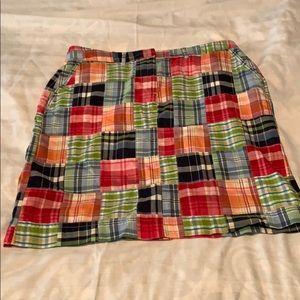 LL Bean madras plaid skirt size 12